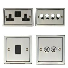 Trimline Polished Chrome TCB Light Switches, Plug Sockets, Dimmers, Fuse, TV