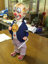 BOXED Japan 1950 ALPS SMILING SAM Carnival Man Circus Clown Tin Toy WIND UP