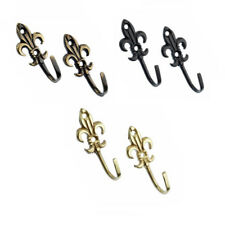 Harrison Drape Fleur De Lys Metal Curtain Tie Back Hooks, Small, Pair