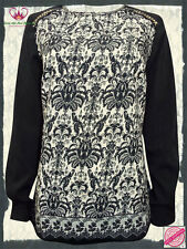 Black Studded Embellished Printed Long Sleeve Blouse/Top - Plus Size 16 to 24