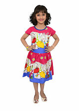 Kids dresses baby clothing Girls Cotton Frock Castle & Princess print Pink