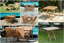 TEAK GARDEN FURNITURE 2/4/6 SEATER FOLDING GARDEN PATIO OUTDOOR FURNITURE SET