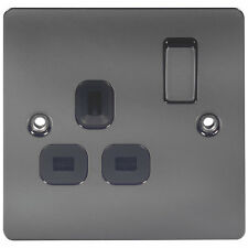 Flat Plate Switches & Sockets Black Nickel Flat Plate