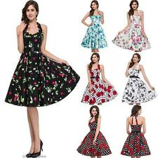 Women's 50s 60s Halter Evening Party Cocktail Housewife Pinup Rockabilly Dress