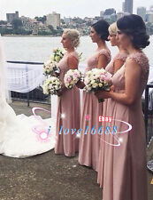 2016 Sexy Modern Blush Chiffon Party Bridesmaid Prom Dresses Evening Ball Gowns