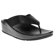 New Womens FitFlop Metallic Black Crystall Microfibre Sandals Flip Flops