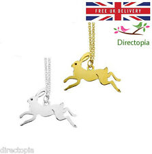 Magical Leaping Jumping Hare Rabbit Animal Pendant Necklace & Gift Bag