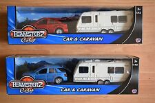 TEAMSTERZ DIECAST AND PLASTIC 4x4 MERCEDES CAR AND CARAVAN SET LARGE SIZE 1:43