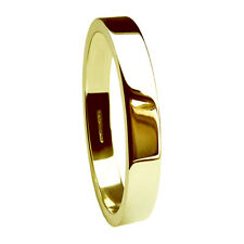 3mm 18ct Yellow Gold Flat Profile Wedding Rings Bands Heavy 750 UK HM 4.2g
