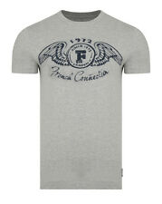 French Connection FCUK This Print T-Shirt Grey Melange Crew Slim Fit Cotton Tee