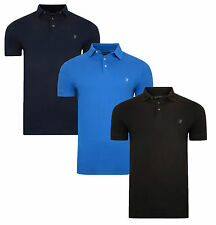 French Connection Men's Cotton Polo Shirt Jersey Top T-shirt New Blue Black Navy