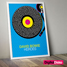 David Bowie - Heroes Song Lyrics Unframed Poster Print. - 2 Sizes Available