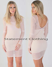 New Women's Ladies Long Sleeves Stripe Bodycon Party Dress