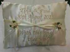Personalised ring cushion pillow ~ ribbon sash style for your wedding day Gift