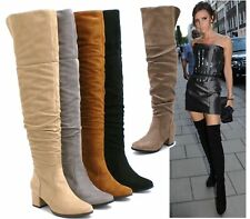WOMENS OVER THE KNEE THIGH HIGH LOW HEEL FLAT LADIES SLOUCH FAUX SUEDE BOOT SIZE