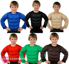 CHILD PADDED MUSCLE CHEST TOP STRONGMAN SHIRT TV MOVIE ARMY FANCY DRESS COSTUME