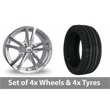 """4 x 15"""" BK Racing 182 Silver Polished Alloy Wheel Rims and Tyres -  195/55/15"""
