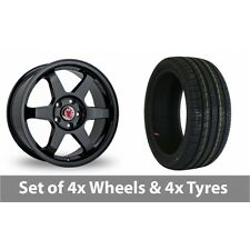 """4 x 18"""" Wolfrace Asia-Tec JDM Black Alloy Wheel Rims and Tyres -  225/40/18"""