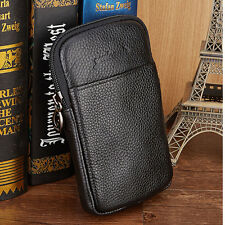 2017 Men Genuine Leather Fanny Pack Waist Bag Cell Mobile Phone Belt Pouch Purse