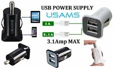 3.1 Amp Fast USAMS Twin Dual 2 Port USB 12V Universal In Car Socket Charger