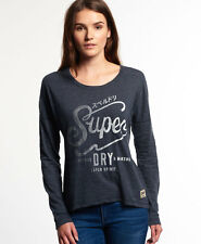 New Womens Superdry Cutters and Makers Top Eclipse Navy Marl