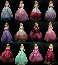 13/15 Items 5 Party Wedding Party Gown Dresses 10 Pairs Shoes For Barbie Doll
