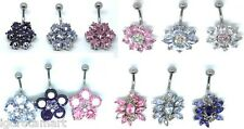Pink Purple Lavender Flower Navel Bar Piercing Belly Button Ring Jewelry