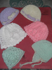 Baby hats newborn to 3 mths, choice of 5 styles, Hand crocheted