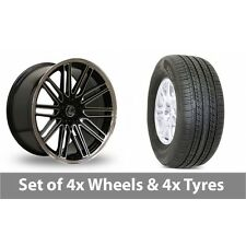 """4 x 19"""" Lenso OP7 Black Polished Alloy Wheel Rims and Tyres -  255/50/19"""