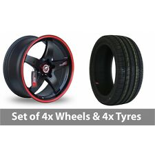"4 x 15"" Samurai D1-R Black Red Alloy Wheel Rims and Tyres -  185/60/15"