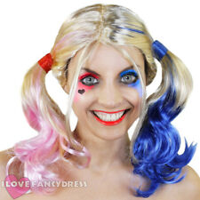 BLONDE PIGTAIL WIG PINK AND BLUE HALLOWEEN FANCY DRESS COSTUME HARLEQUIN COSPLAY