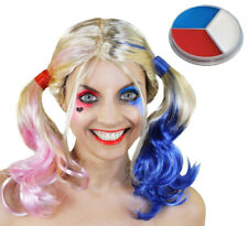 BLONDE PIGTAIL WIG AND FACE PAINT SET HALLOWEEN FANCY DRESS COSTUME COSPLAY