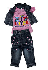Girls Dresses Top and Capri with Denim Jacket - Partywear