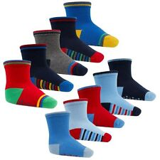 """BABY TODDLER BOYS """"5 PACK"""" ANTI-SLIP SOCKS TICK TOCK WITH GRIPPERS FROM NEWBORN"""