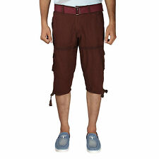 Greentree Mens Cotton Shorts 3/4 Capri 6 Pocket Cargo Shorts for Men MASR67