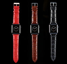 High Quality Leather Watchband For Apple Watch, 38mm/42mm in Red, Brown or Black
