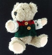 """8"""" Hugfun posable jointed beige teddy bear with red green sweater hoodie"""