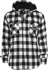 Hooded Checked Flanell Shirt - schwarz / weiß