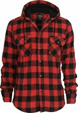 Hooded Checked Flanell Shirt - schwarz / rot