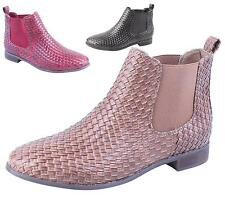WOMENS LADIES PIXIE BASKET WEAVE LADIES FLAT CHELSEA ANKLE BOOTS SHOES SIZES 3-8