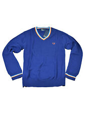 Fred Perry V-Neck Pullover Feinstrick Blau K2201 126 #6009