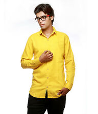 Greentree Mens Cotton Shirt Casual Slim Fit Yellow Shirt MAST03