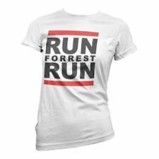 Official Womens Forest Gump Run Forrest Run White Retro T-Shirt - Ladies Fitted