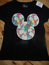 Ladies MICKEY MOUSE Floral Logo T Shirt  DISNEY Primark HIDDEN MICKEY Tee Top