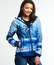 New Womens Superdry Palm Cagoule Blue Palm