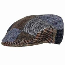 New Patchwork Country Flat Cap 100% Scottish Harris Tweed Wool Assorted Colours