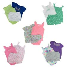 Carter's 3 Piece Set for Baby Girls - Top, Bodysuit, Shorts or Diaper Cover
