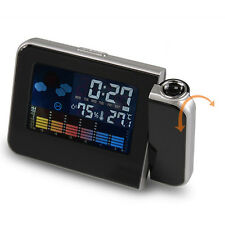 Digital LCD LED Time Date Projector Snooze Color Alarm Clock Weather Temperature