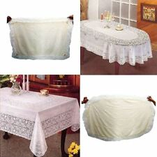 VINYL CREAM OVAL RECTANGLE EMBOSSED LACE TABLECLOTH TABLE COVER VINTAGE