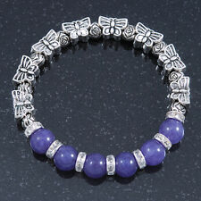 Antique Silver Tone Butterfly Bead And 10mm Dyed Purple Agate Stone Stretch Brac
